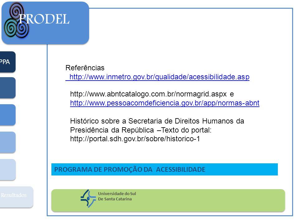 PPA Resultados PRODEL Universidade do Sul De Santa Catarina PROGRAMA DE PROMOÇÃO DA ACESSIBILIDADE Referências http://www.inmetro.gov.br/qualidade/ace