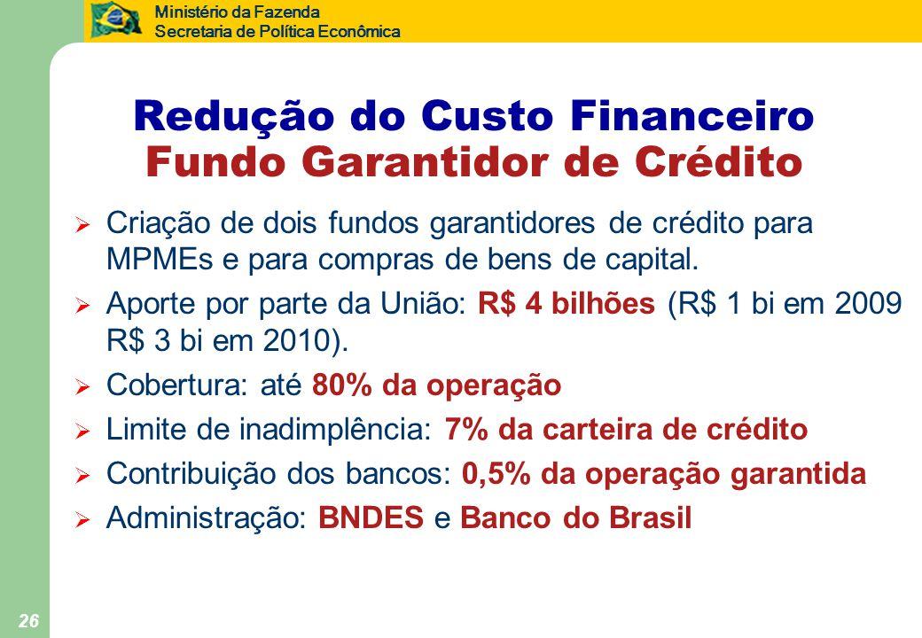 Ministério da Fazenda Secretaria de Política Econômica 26 Redução do Custo Financeiro Fundo Garantidor de Crédito  Criação de dois fundos garantidores de crédito para MPMEs e para compras de bens de capital.