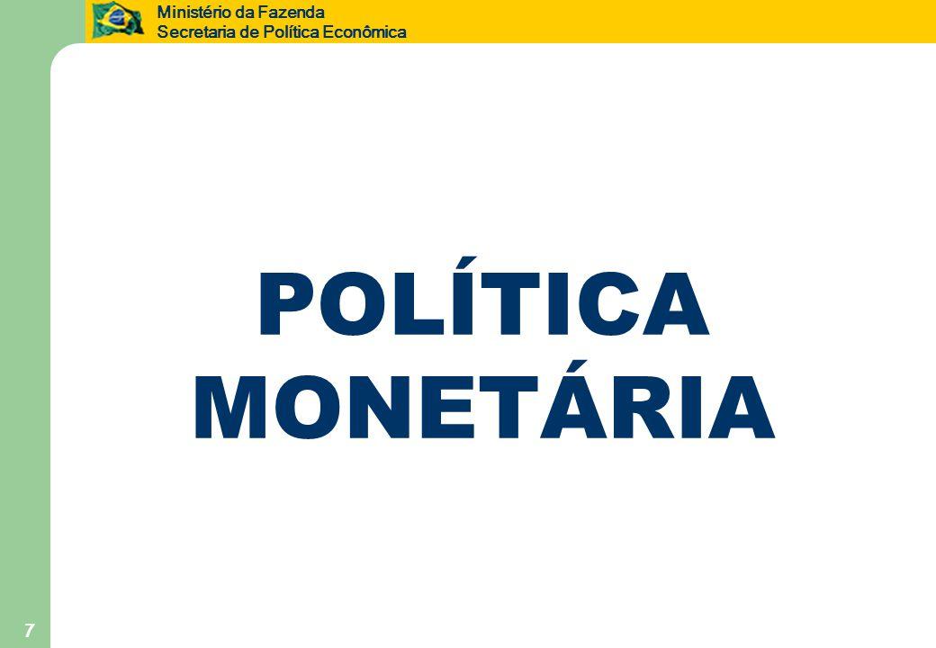 Ministério da Fazenda Secretaria de Política Econômica 7 POLÍTICA MONETÁRIA