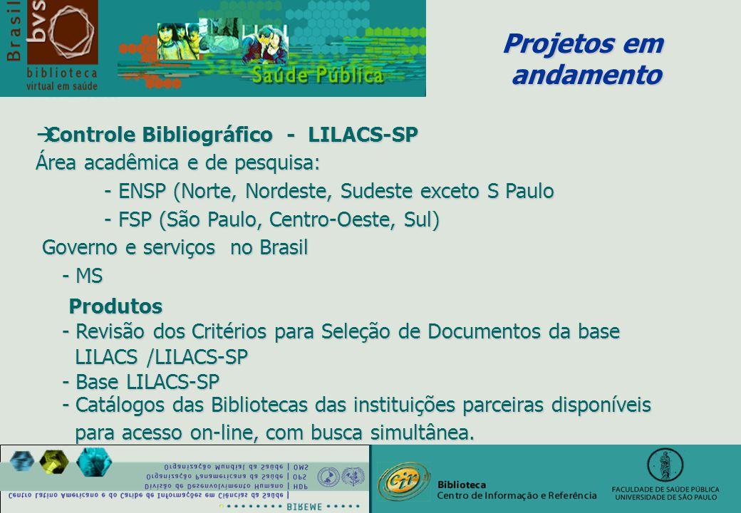 Projetos em andamento andamento àControle Bibliográfico - LILACS-SP Área acadêmica e de pesquisa: - ENSP (Norte, Nordeste, Sudeste exceto S Paulo - FSP (São Paulo, Centro-Oeste, Sul) Governo e serviços no Brasil Governo e serviços no Brasil - MS - MS Produtos Produtos - Revisão dos Critérios para Seleção de Documentos da base - Revisão dos Critérios para Seleção de Documentos da base LILACS /LILACS-SP LILACS /LILACS-SP - Base LILACS-SP - Base LILACS-SP - Catálogos das Bibliotecas das instituições parceiras disponíveis - Catálogos das Bibliotecas das instituições parceiras disponíveis para acesso on-line, com busca simultânea.