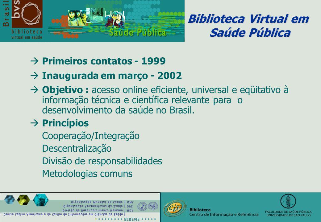 àPrimeiros contatos - 1999 àInaugurada em março - 2002 àObjetivo : acesso online eficiente, universal e eqüitativo à informação técnica e científica relevante para o desenvolvimento da saúde no Brasil.