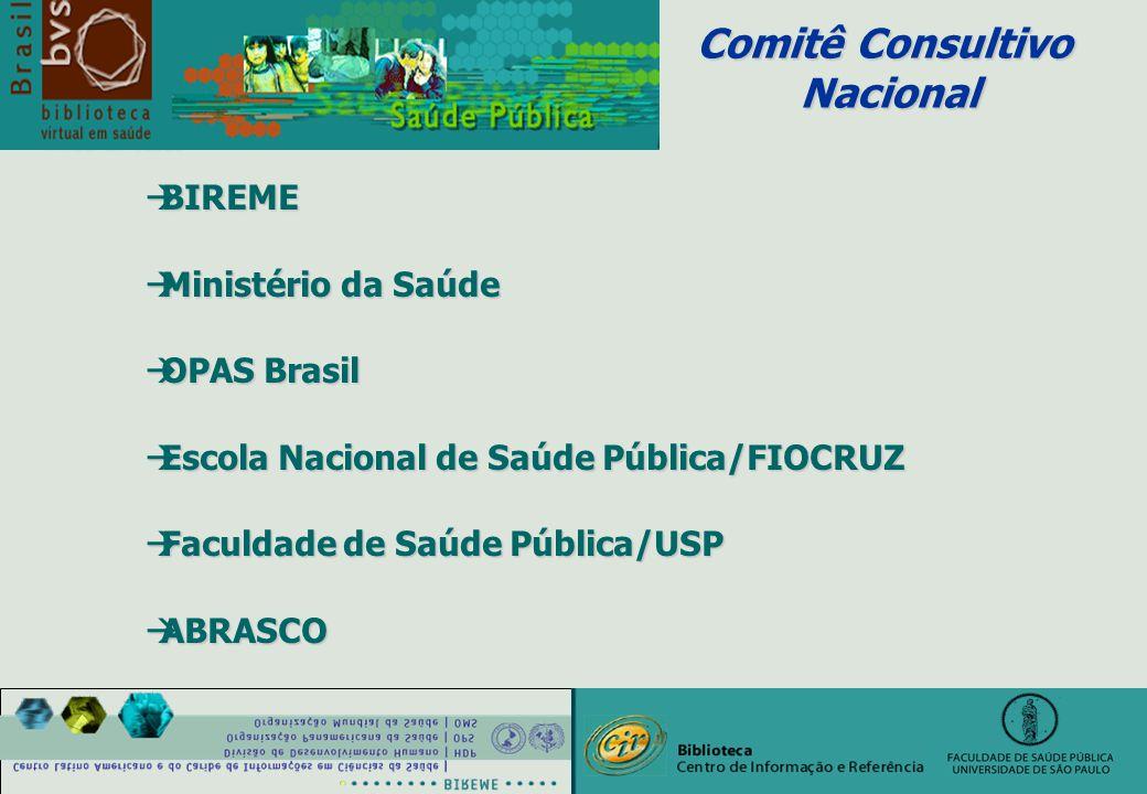 Comitê Consultivo Nacional Nacional àBIREME àMinistério da Saúde àOPAS Brasil àEscola Nacional de Saúde Pública/FIOCRUZ àFaculdade de Saúde Pública/USP àABRASCO