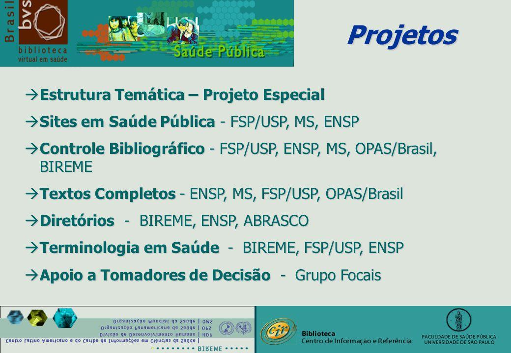 Projetos àEstrutura Temática – Projeto Especial àSites em Saúde Pública - FSP/USP, MS, ENSP àControle Bibliográfico - FSP/USP, ENSP, MS, OPAS/Brasil, BIREME àTextos Completos - ENSP, MS, FSP/USP, OPAS/Brasil àDiretórios - BIREME, ENSP, ABRASCO àTerminologia em Saúde - BIREME, FSP/USP, ENSP àApoio a Tomadores de Decisão - Grupo Focais