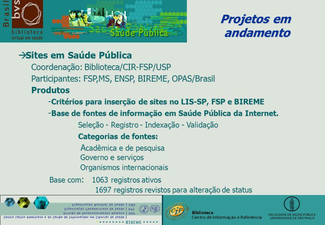 à Sites em Saúde Pública Coordenação: Biblioteca/CIR-FSP/USP Coordenação: Biblioteca/CIR-FSP/USP Participantes: FSP,MS, ENSP, BIREME, OPAS/Brasil Participantes: FSP,MS, ENSP, BIREME, OPAS/Brasil Produtos Produtos - Critérios para inserção de sites no LIS-SP, FSP e BIREME - Base de fontes de informação em Saúde Pública da Internet.
