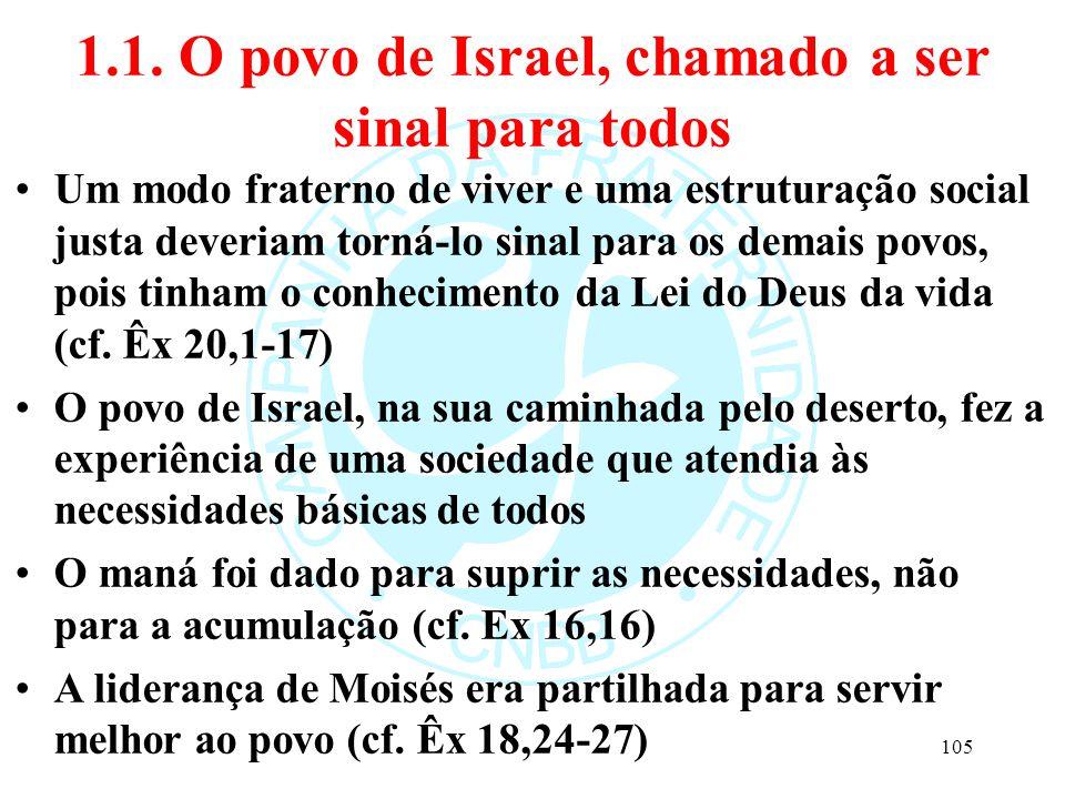 1.1. O povo de Israel, chamado a ser sinal para todos Um modo fraterno de viver e uma estruturação social justa deveriam torná-lo sinal para os demais
