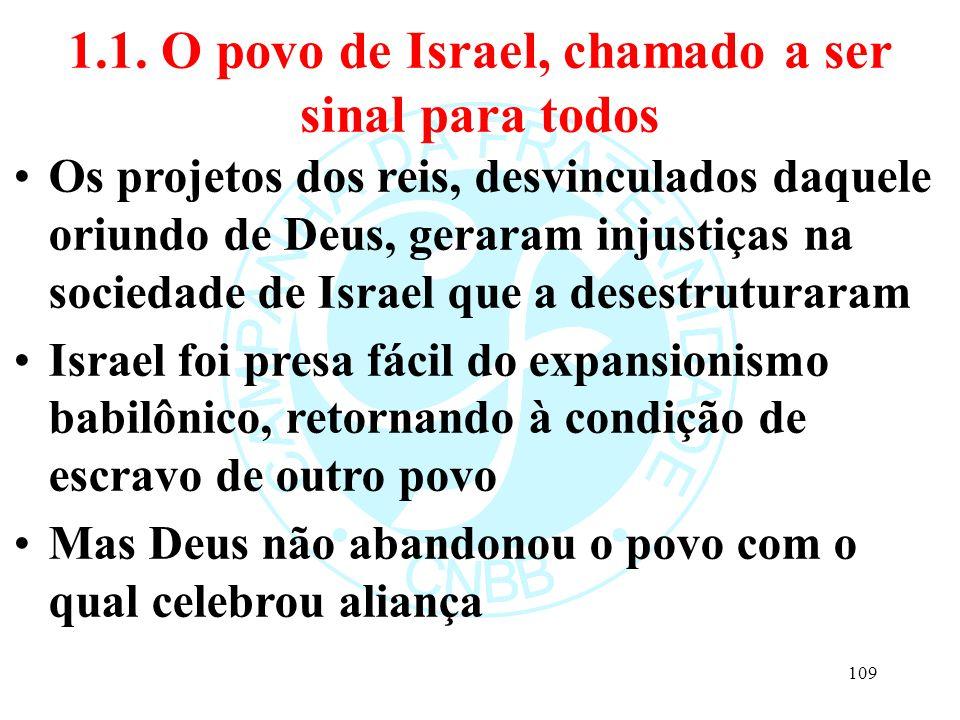 1.1. O povo de Israel, chamado a ser sinal para todos Os projetos dos reis, desvinculados daquele oriundo de Deus, geraram injustiças na sociedade de
