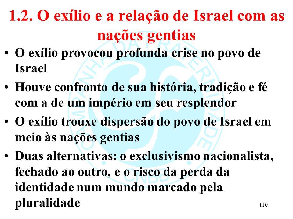 1.2. O exílio e a relação de Israel com as nações gentias O exílio provocou profunda crise no povo de Israel Houve confronto de sua história, tradição
