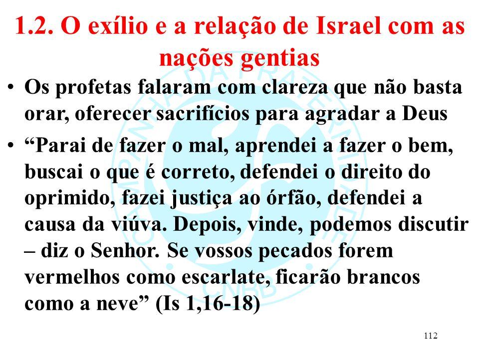 1.2. O exílio e a relação de Israel com as nações gentias Os profetas falaram com clareza que não basta orar, oferecer sacrifícios para agradar a Deus