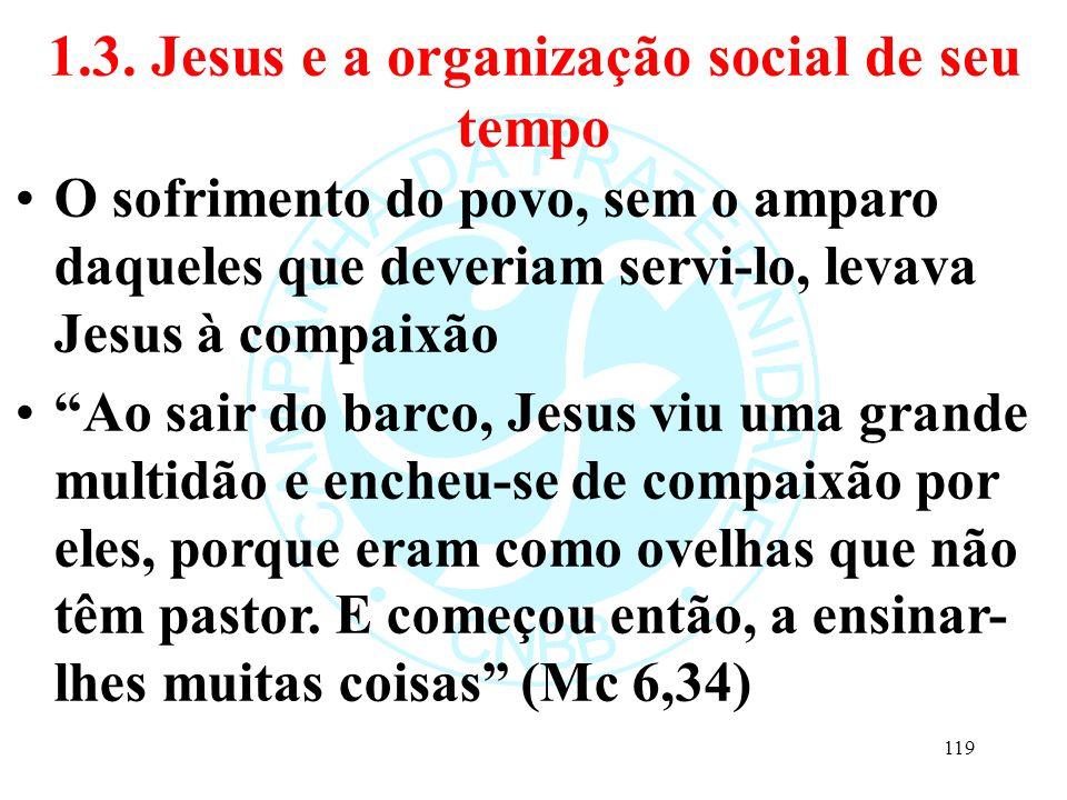 """1.3. Jesus e a organização social de seu tempo O sofrimento do povo, sem o amparo daqueles que deveriam servi-lo, levava Jesus à compaixão """"Ao sair do"""