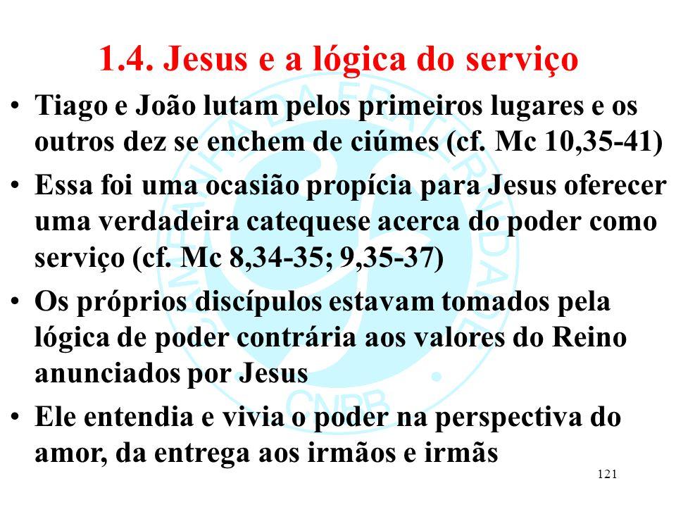 1.4. Jesus e a lógica do serviço Tiago e João lutam pelos primeiros lugares e os outros dez se enchem de ciúmes (cf. Mc 10,35-41) Essa foi uma ocasião