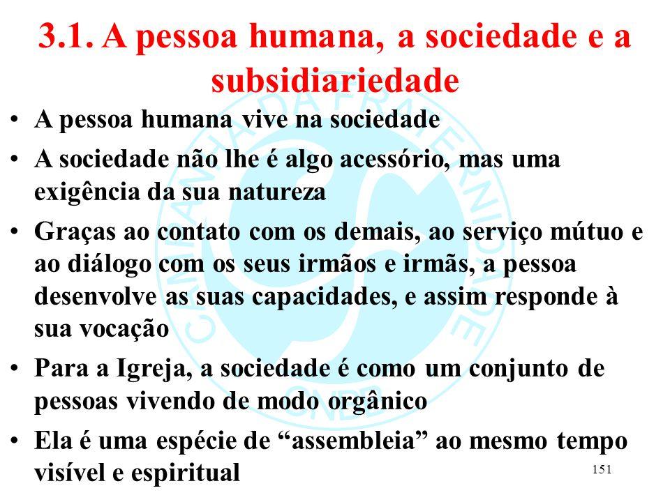 3.1. A pessoa humana, a sociedade e a subsidiariedade A pessoa humana vive na sociedade A sociedade não lhe é algo acessório, mas uma exigência da sua