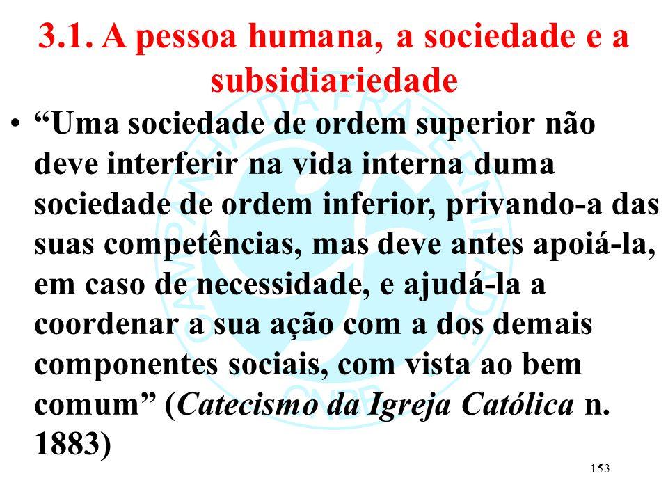 """3.1. A pessoa humana, a sociedade e a subsidiariedade """"Uma sociedade de ordem superior não deve interferir na vida interna duma sociedade de ordem inf"""