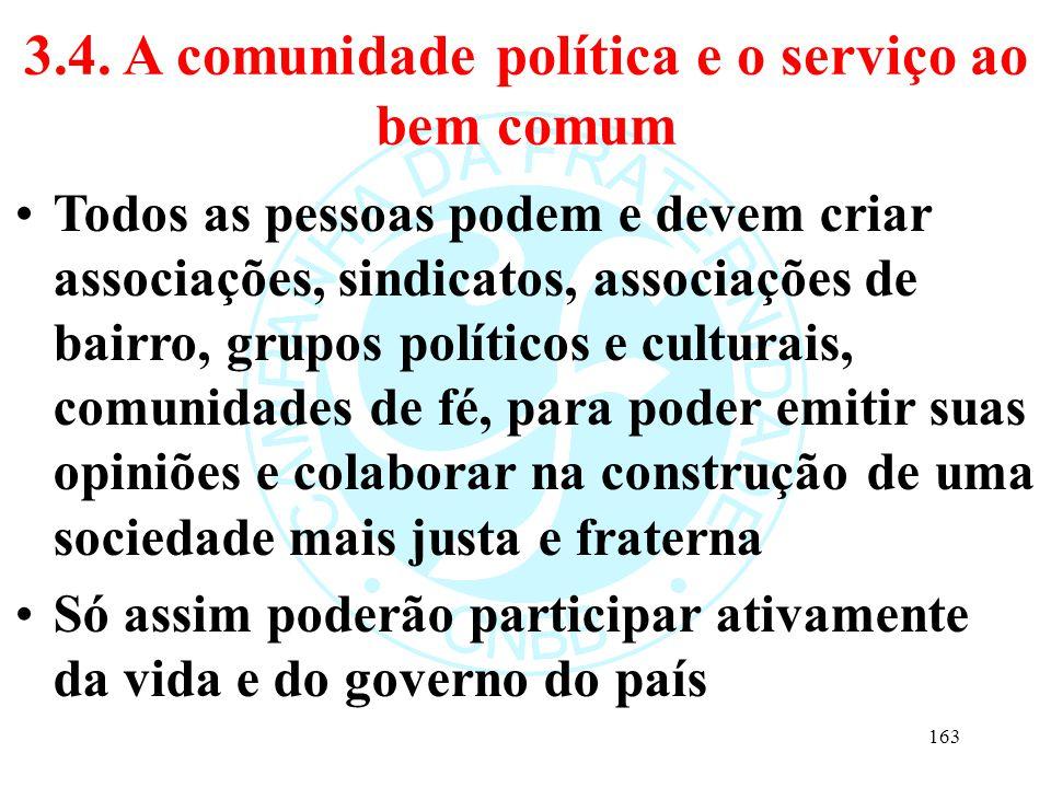 3.4. A comunidade política e o serviço ao bem comum Todos as pessoas podem e devem criar associações, sindicatos, associações de bairro, grupos políti