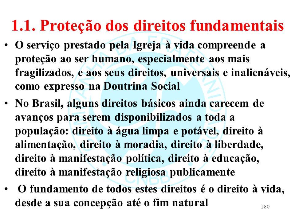 1.1. Proteção dos direitos fundamentais O serviço prestado pela Igreja à vida compreende a proteção ao ser humano, especialmente aos mais fragilizados