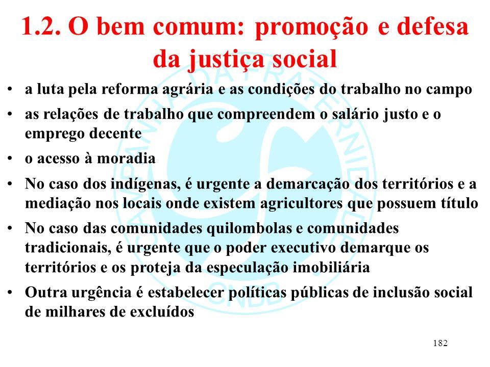1.2. O bem comum: promoção e defesa da justiça social a luta pela reforma agrária e as condições do trabalho no campo as relações de trabalho que comp