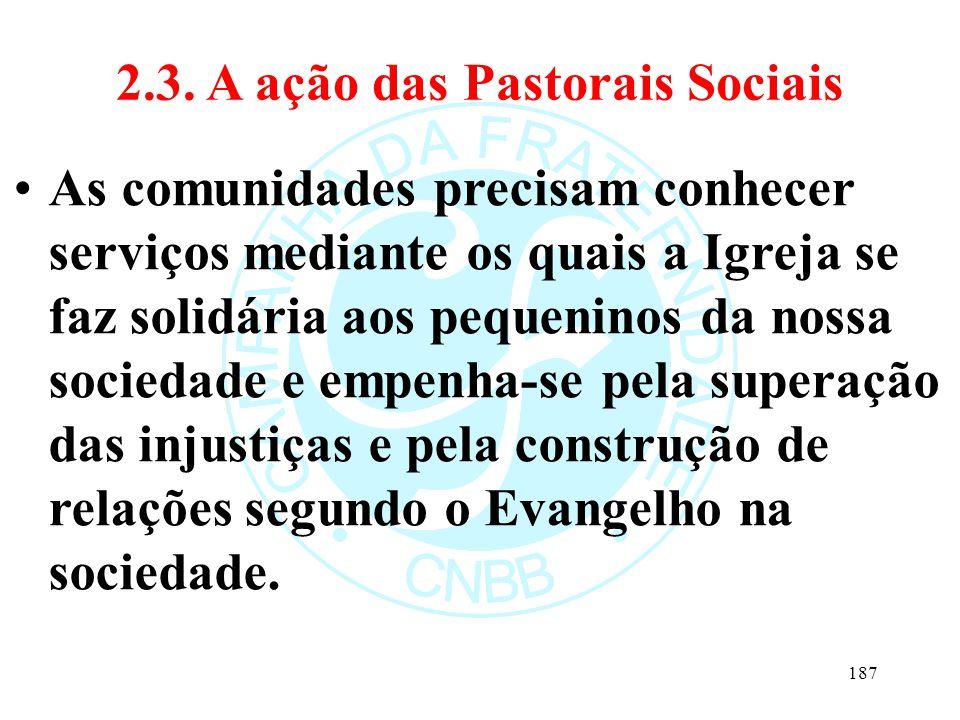 2.3. A ação das Pastorais Sociais As comunidades precisam conhecer serviços mediante os quais a Igreja se faz solidária aos pequeninos da nossa socied