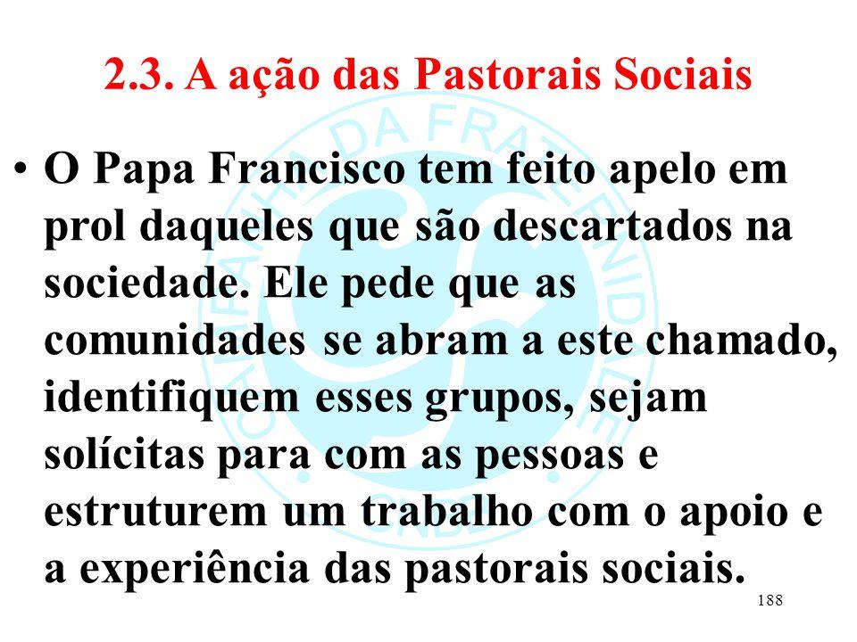 2.3. A ação das Pastorais Sociais O Papa Francisco tem feito apelo em prol daqueles que são descartados na sociedade. Ele pede que as comunidades se a