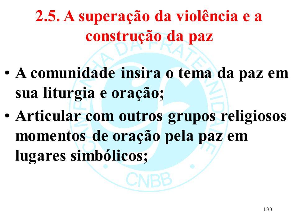 2.5. A superação da violência e a construção da paz A comunidade insira o tema da paz em sua liturgia e oração; Articular com outros grupos religiosos