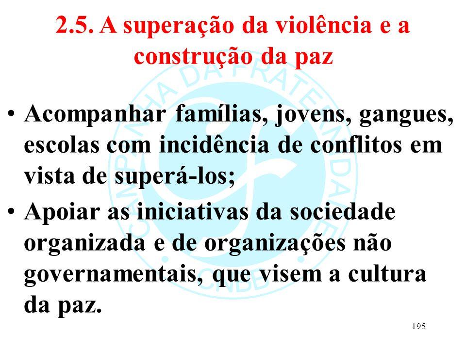 2.5. A superação da violência e a construção da paz Acompanhar famílias, jovens, gangues, escolas com incidência de conflitos em vista de superá-los;