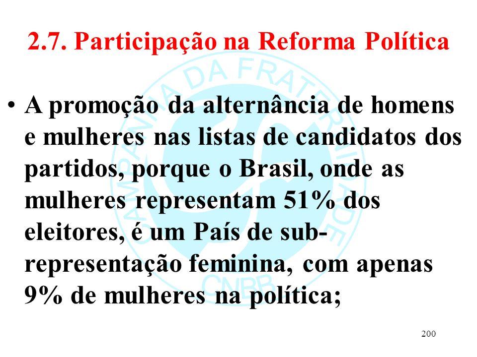 2.7. Participação na Reforma Política A promoção da alternância de homens e mulheres nas listas de candidatos dos partidos, porque o Brasil, onde as m