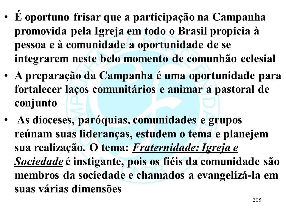 É oportuno frisar que a participação na Campanha promovida pela Igreja em todo o Brasil propicia à pessoa e à comunidade a oportunidade de se integrar