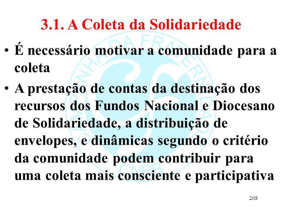 3.1. A Coleta da Solidariedade É necessário motivar a comunidade para a coleta A prestação de contas da destinação dos recursos dos Fundos Nacional e