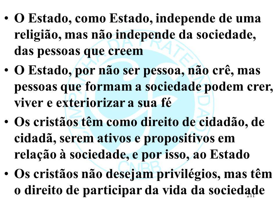 O Estado, como Estado, independe de uma religião, mas não independe da sociedade, das pessoas que creem O Estado, por não ser pessoa, não crê, mas pes