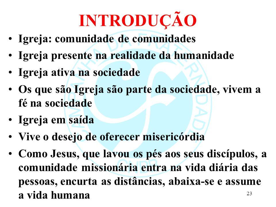 INTRODUÇÃO Igreja: comunidade de comunidades Igreja presente na realidade da humanidade Igreja ativa na sociedade Os que são Igreja são parte da socie