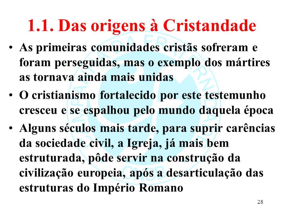 1.1. Das origens à Cristandade As primeiras comunidades cristãs sofreram e foram perseguidas, mas o exemplo dos mártires as tornava ainda mais unidas