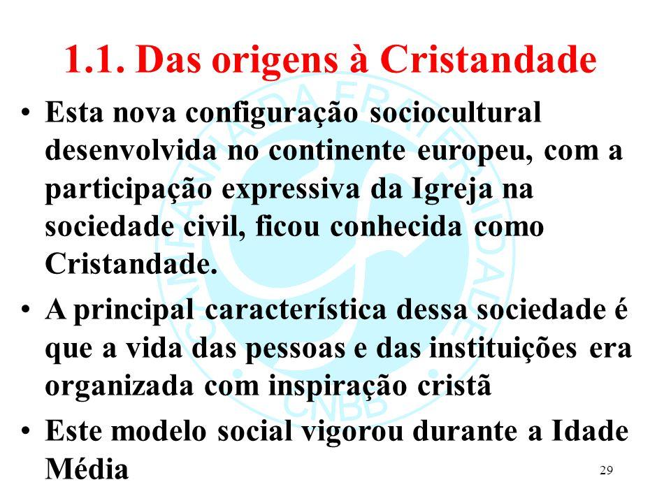 1.1. Das origens à Cristandade Esta nova configuração sociocultural desenvolvida no continente europeu, com a participação expressiva da Igreja na soc