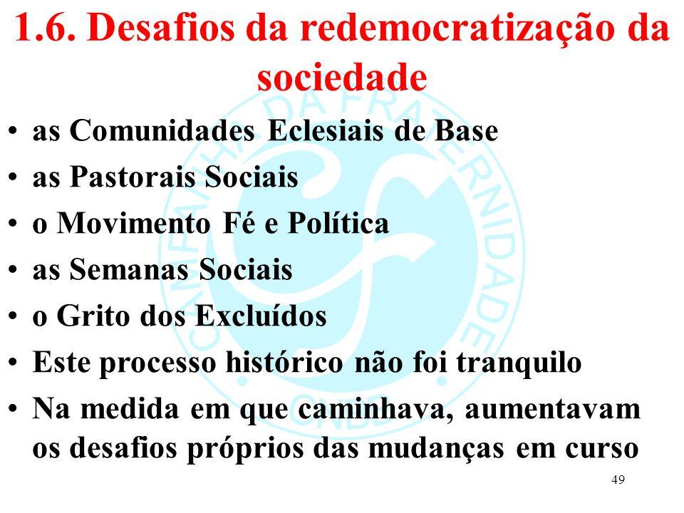 1.6. Desafios da redemocratização da sociedade as Comunidades Eclesiais de Base as Pastorais Sociais o Movimento Fé e Política as Semanas Sociais o Gr