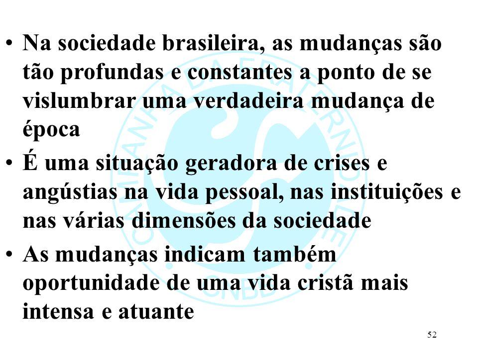Na sociedade brasileira, as mudanças são tão profundas e constantes a ponto de se vislumbrar uma verdadeira mudança de época É uma situação geradora de crises e angústias na vida pessoal, nas instituições e nas várias dimensões da sociedade As mudanças indicam também oportunidade de uma vida cristã mais intensa e atuante 52