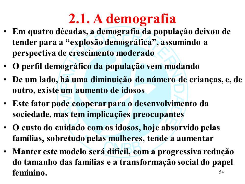 """2.1. A demografia Em quatro décadas, a demografia da população deixou de tender para a """"explosão demográfica"""", assumindo a perspectiva de crescimento"""