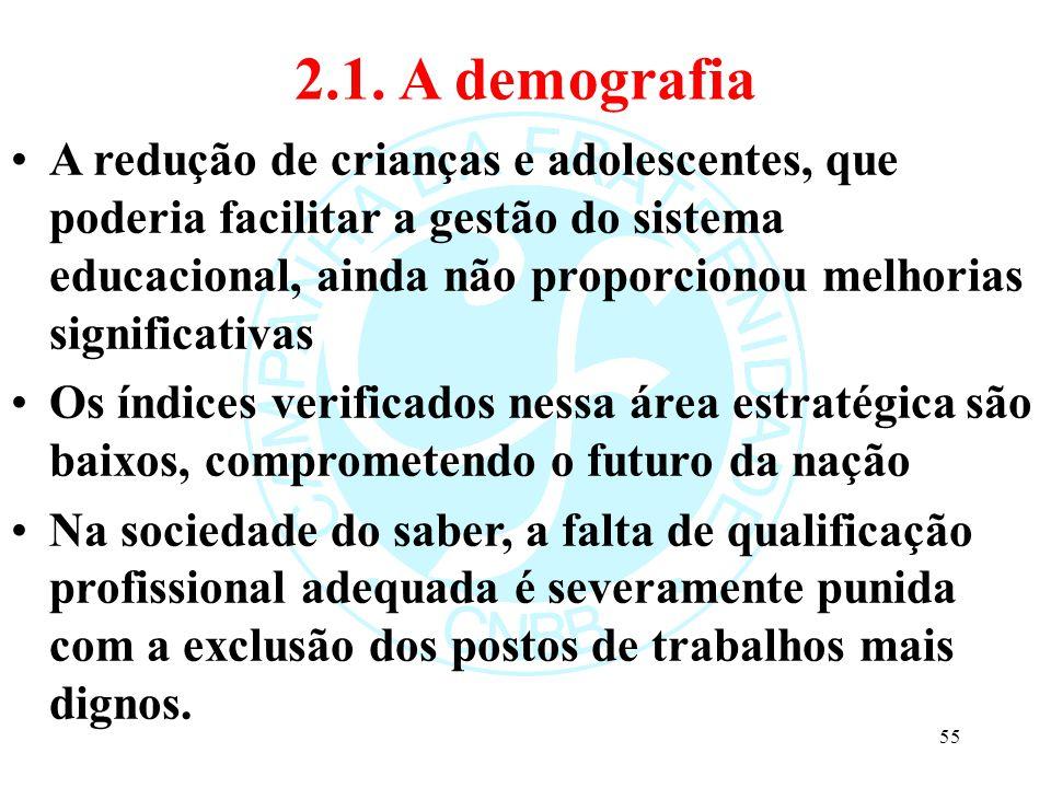 2.1. A demografia A redução de crianças e adolescentes, que poderia facilitar a gestão do sistema educacional, ainda não proporcionou melhorias signif