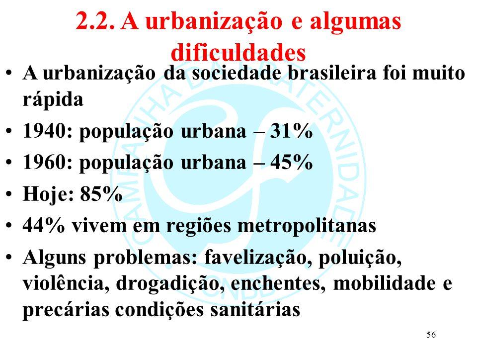 2.2. A urbanização e algumas dificuldades A urbanização da sociedade brasileira foi muito rápida 1940: população urbana – 31% 1960: população urbana –