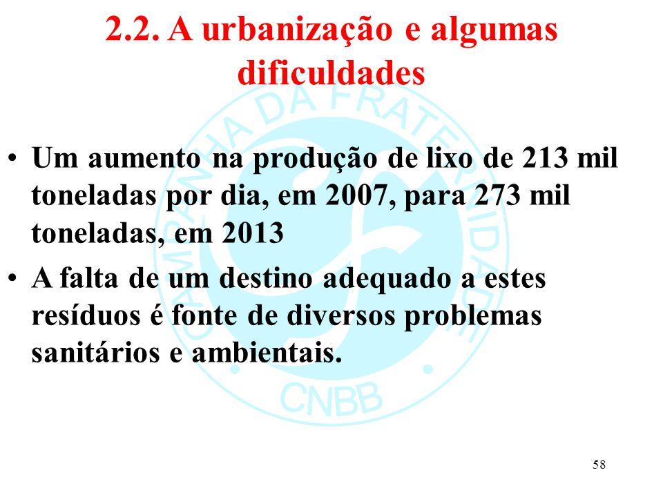 2.2. A urbanização e algumas dificuldades Um aumento na produção de lixo de 213 mil toneladas por dia, em 2007, para 273 mil toneladas, em 2013 A falt