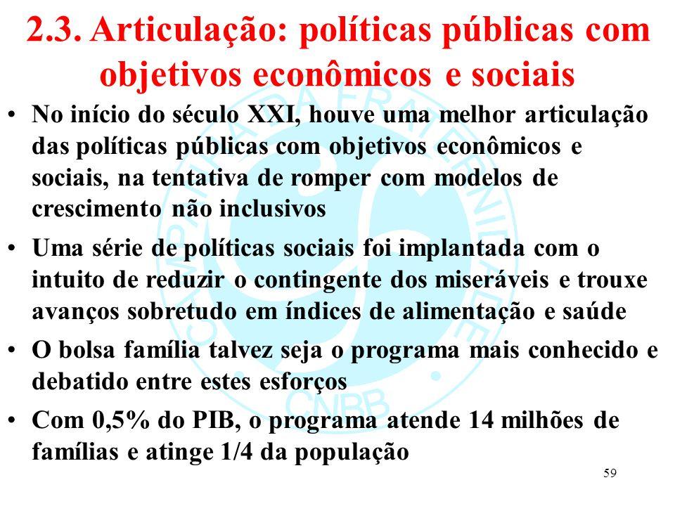 2.3. Articulação: políticas públicas com objetivos econômicos e sociais No início do século XXI, houve uma melhor articulação das políticas públicas c