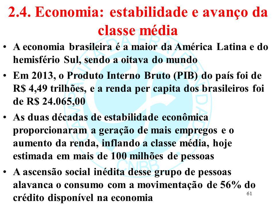 2.4. Economia: estabilidade e avanço da classe média A economia brasileira é a maior da América Latina e do hemisfério Sul, sendo a oitava do mundo Em