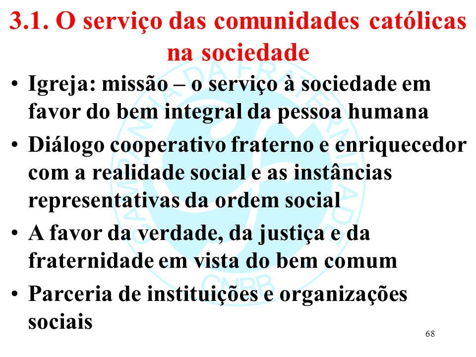 3.1. O serviço das comunidades católicas na sociedade Igreja: missão – o serviço à sociedade em favor do bem integral da pessoa humana Diálogo coopera
