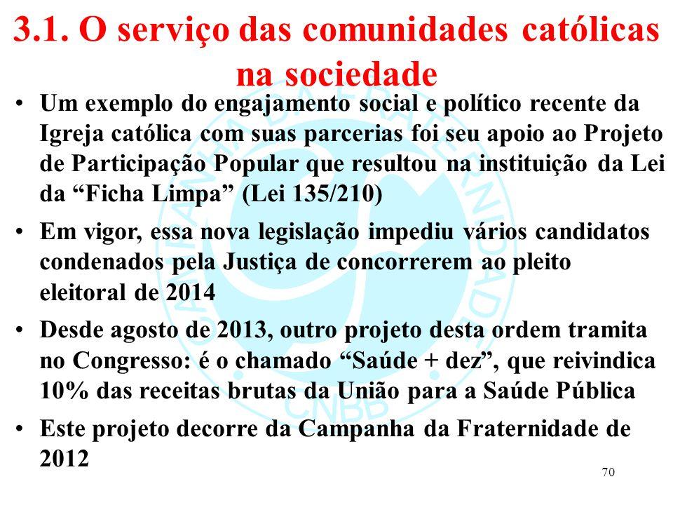 3.1. O serviço das comunidades católicas na sociedade Um exemplo do engajamento social e político recente da Igreja católica com suas parcerias foi se
