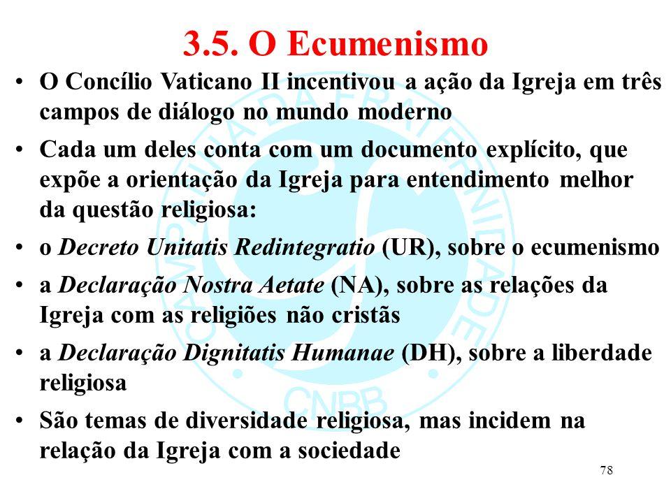 3.5. O Ecumenismo O Concílio Vaticano II incentivou a ação da Igreja em três campos de diálogo no mundo moderno Cada um deles conta com um documento e