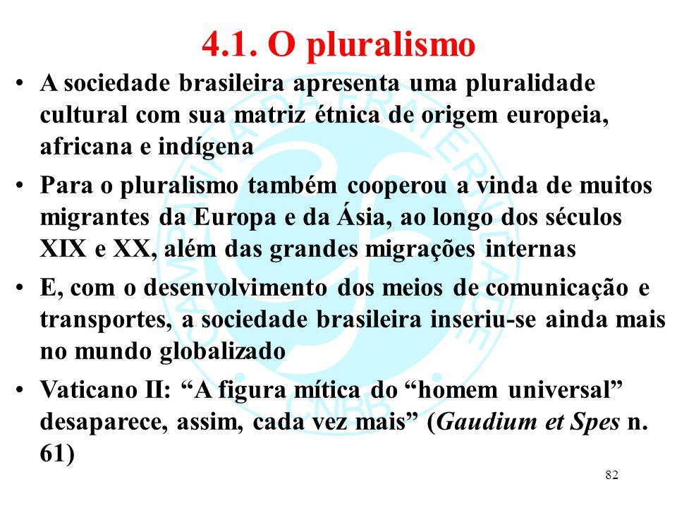 4.1. O pluralismo A sociedade brasileira apresenta uma pluralidade cultural com sua matriz étnica de origem europeia, africana e indígena Para o plura