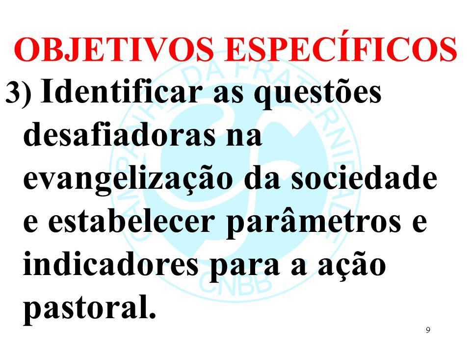 OBJETIVOS ESPECÍFICOS 3) Identificar as questões desafiadoras na evangelização da sociedade e estabelecer parâmetros e indicadores para a ação pastora