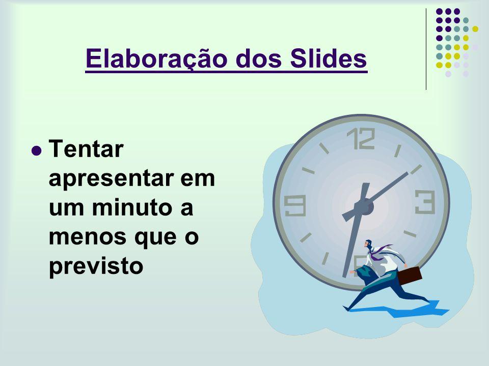 Elaboração dos Slides Tentar apresentar em um minuto a menos que o previsto