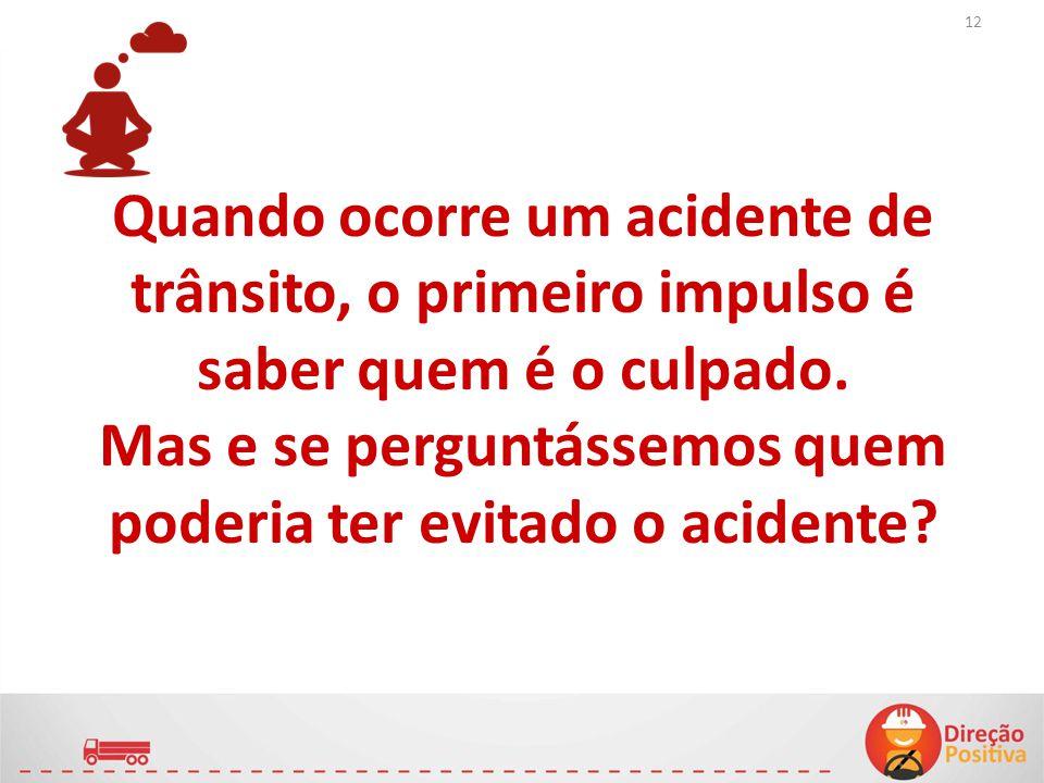 Quando ocorre um acidente de trânsito, o primeiro impulso é saber quem é o culpado. Mas e se perguntássemos quem poderia ter evitado o acidente? 12