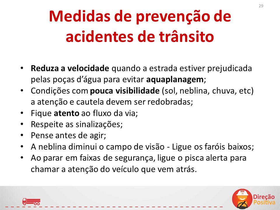 Medidas de prevenção de acidentes de trânsito Reduza a velocidade quando a estrada estiver prejudicada pelas poças d'água para evitar aquaplanagem; Co