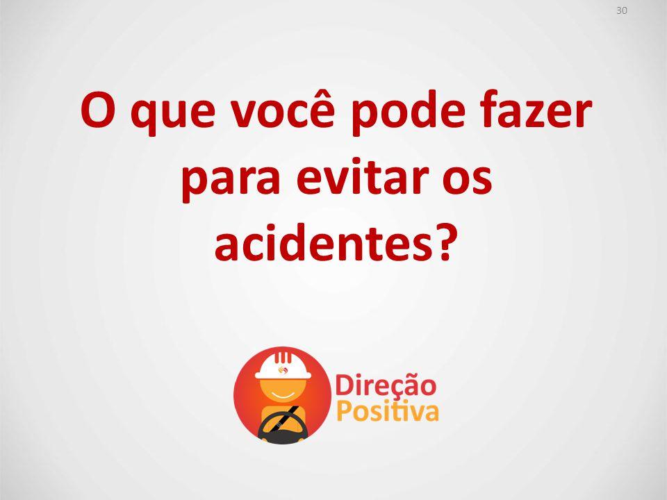 O que você pode fazer para evitar os acidentes? 30