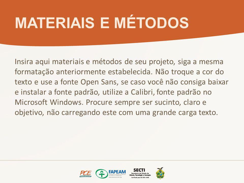 MATERIAIS E MÉTODOS Insira aqui materiais e métodos de seu projeto, siga a mesma formatação anteriormente estabelecida.