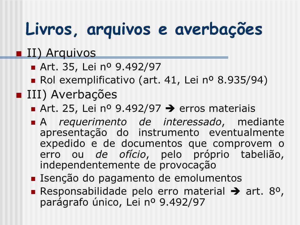 Livros, arquivos e averbações II) Arquivos Art. 35, Lei nº 9.492/97 Rol exemplificativo (art. 41, Lei nº 8.935/94) III) Averbações Art. 25, Lei nº 9.4