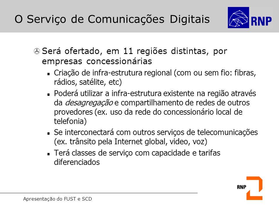 Apresentação do FUST e SCD O Serviço de Comunicações Digitais >Será ofertado, em 11 regiões distintas, por empresas concessionárias Criação de infra-e